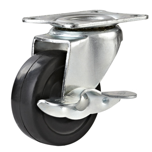 Rubber Casters Top Plate with Side Brake